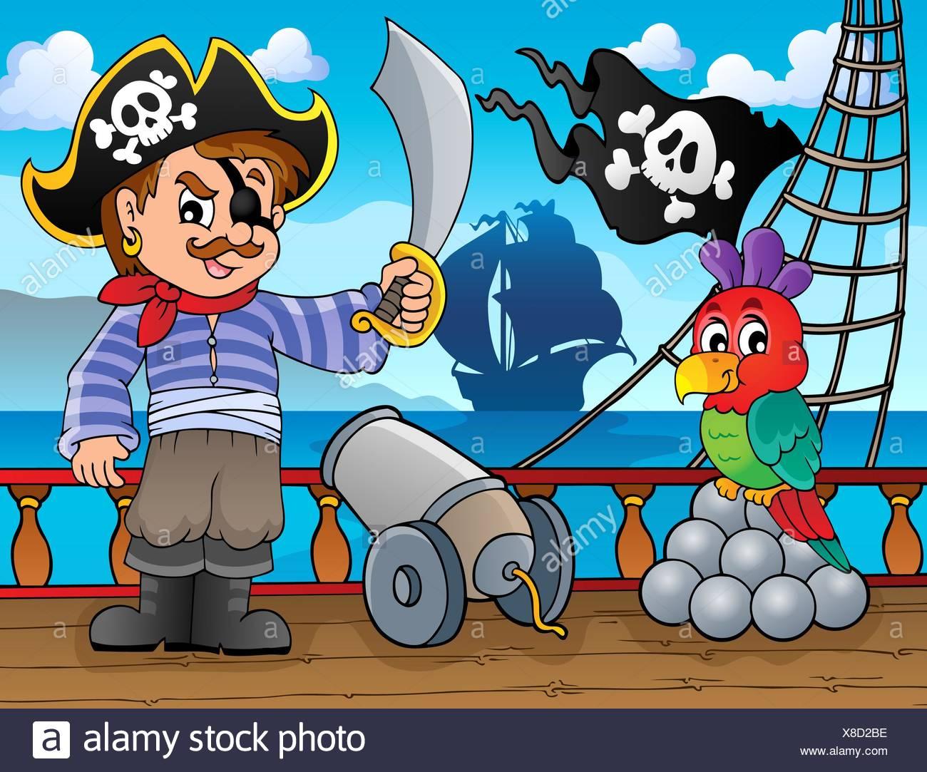 Piraten Schiff Deck Thema 3 - Bild-Darstellung. Stockbild