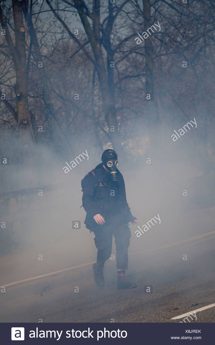 Demonstrant laufen durch den Nebel des Tränengas während der Proteste gegen NATO-Gipfel, Straßburg, Frankreich Stockbild