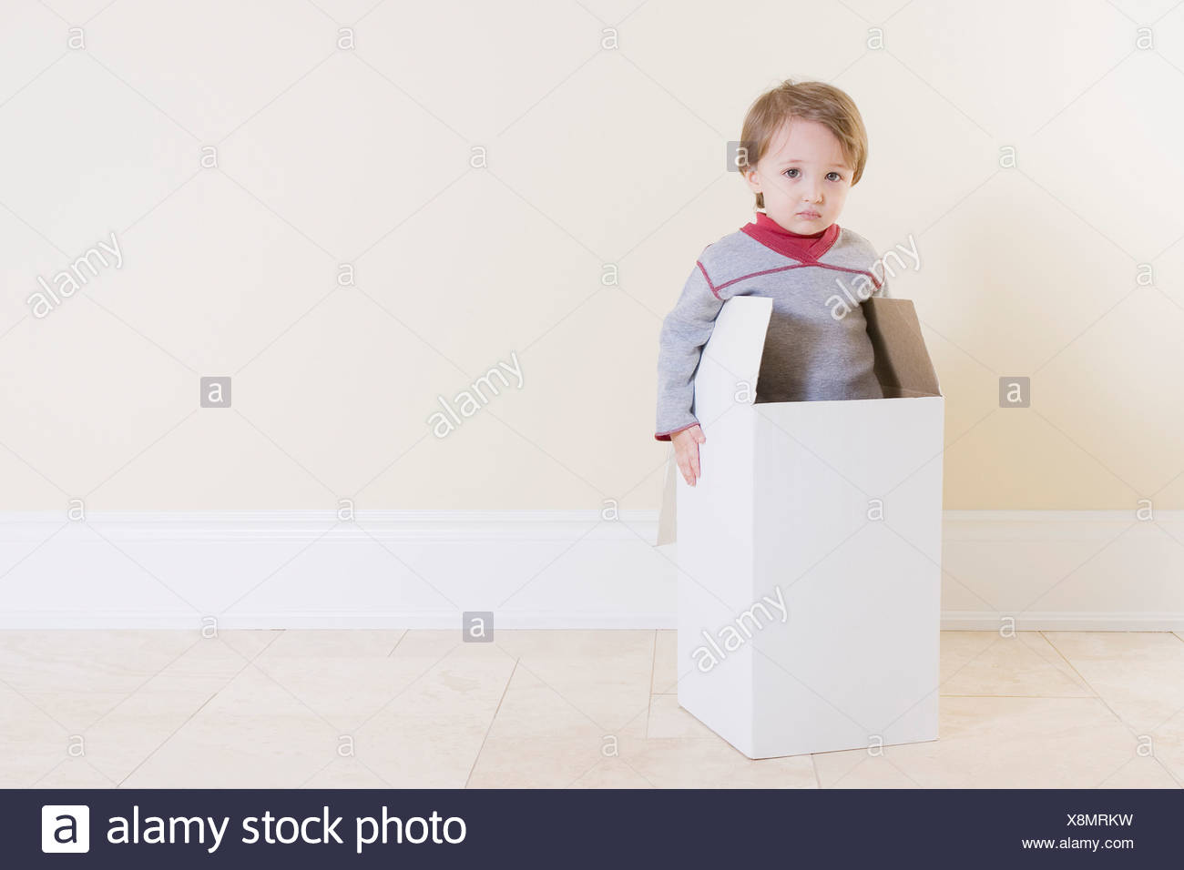 Kleiner Junge spielt mit Box Stockfoto