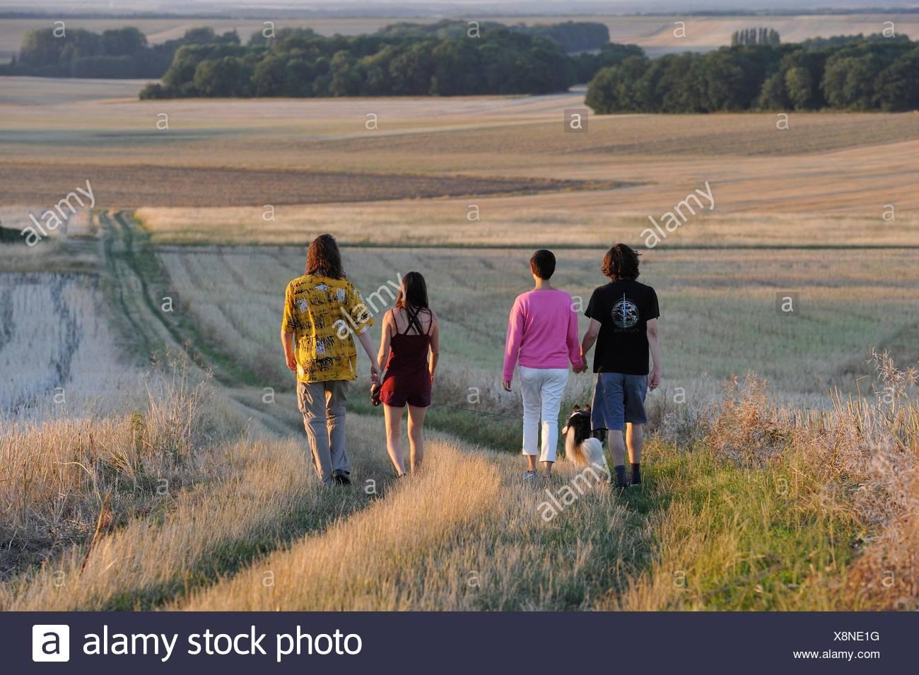 Junge Menschen wandern um Mittainville, Departement Yvelines, Region Ile-de-France, Frankreich, Europa. Stockbild