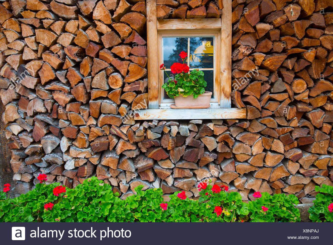 Fenster mit Blumenschmuck im Engadin Stockbild