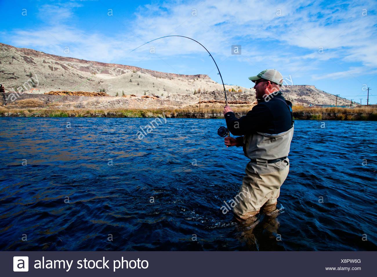 Ein Fliegenfischer Haken eine Forelle auf dem Deschutes River außerhalb Bend, Oregon. Stockbild