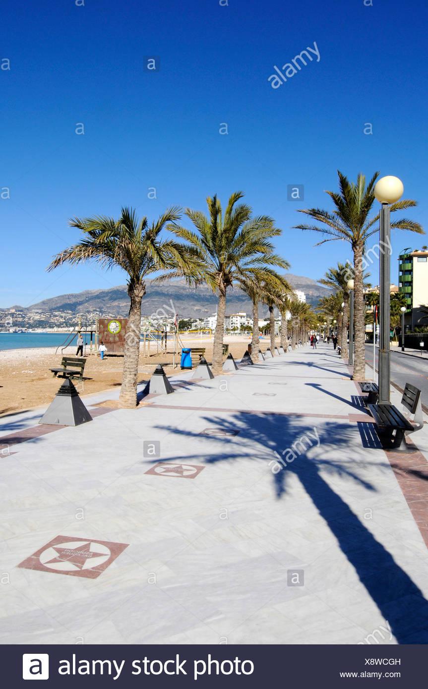 Promenade von El Paseo de Estrellas, Prominente, Waterfront, Sterne, Strand promenade, Albir, Altea, Costa Blanca, Alicante provi Stockbild