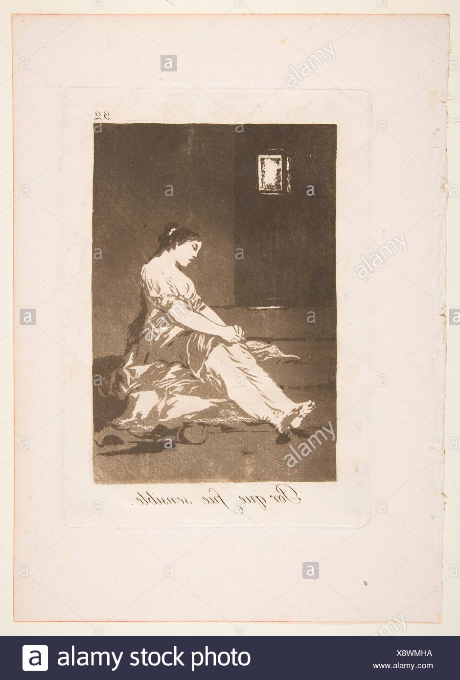 Platte 32 von 'Los Caprichos': Weil sie anfällig war (Por que fue sinnvoll.). Serie/Portfolio: Los Capricho; Artist: Goya (Francisco de Goya y Stockbild