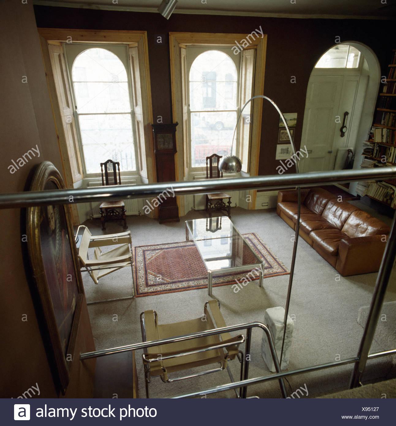 Blick Vom Mezzanine Galerie Der Siebziger Jahre Wohnzimmer