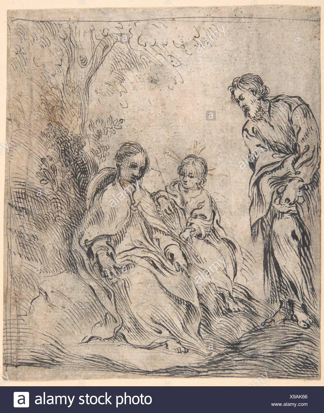 Die Jugendliche Täufer mit seinen Eltern. Artist:, Antonio del Castillo y Saavedra (Spanisch, Cordoba Cordoba 1616-1668); Datum: 1616-68 zugeschrieben; Stockbild