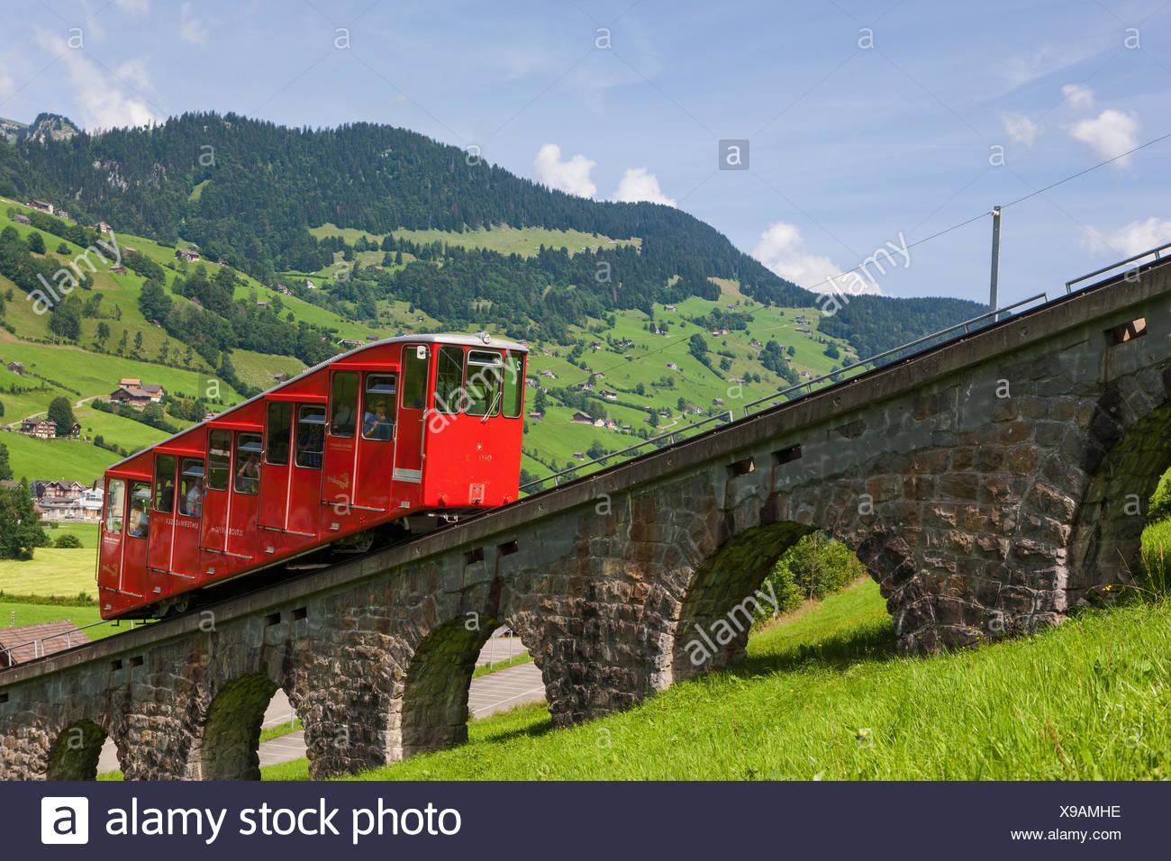 Iltiosbahn, Schweiz, Europa, Kanton St. Gallen, Toggenburg, Mountain Road, Standseilbahn, Eisenbahn, Stockbild