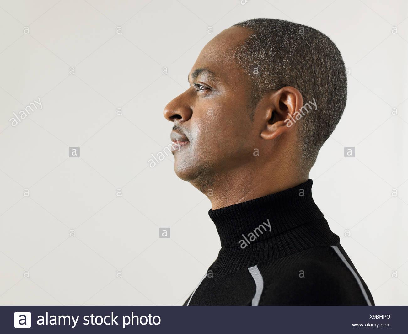 Profil von einem reifen Mann Stockbild