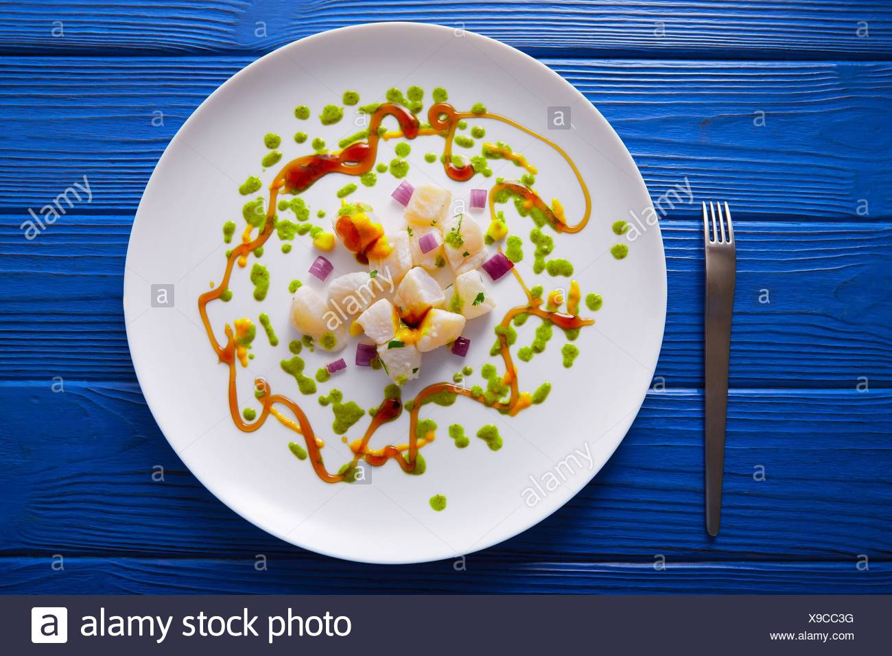 Ceviche rezept moderne gastronomie stil molekulare küche stockfoto