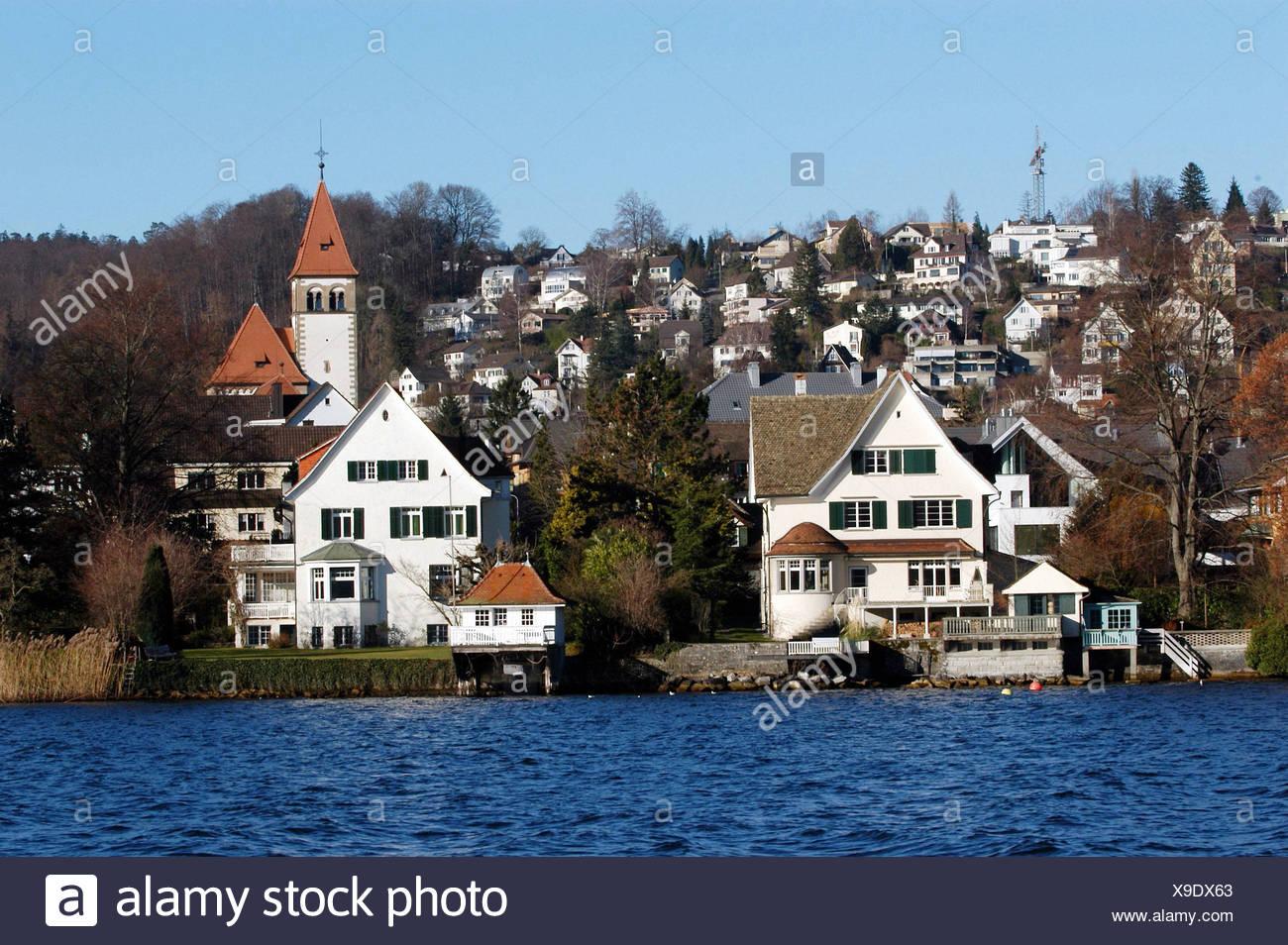 new style 40578 ecaef Blauer Himmel, Zürichsee, See, Kirche, Immobilien, Häuser ...