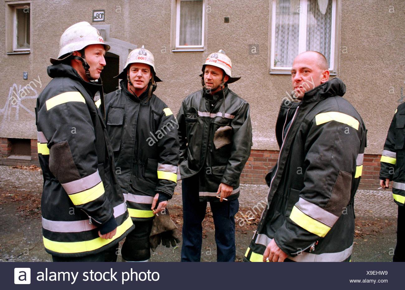 Berliner Feuerwehr nach der Bereitstellung, Deutschland Stockbild