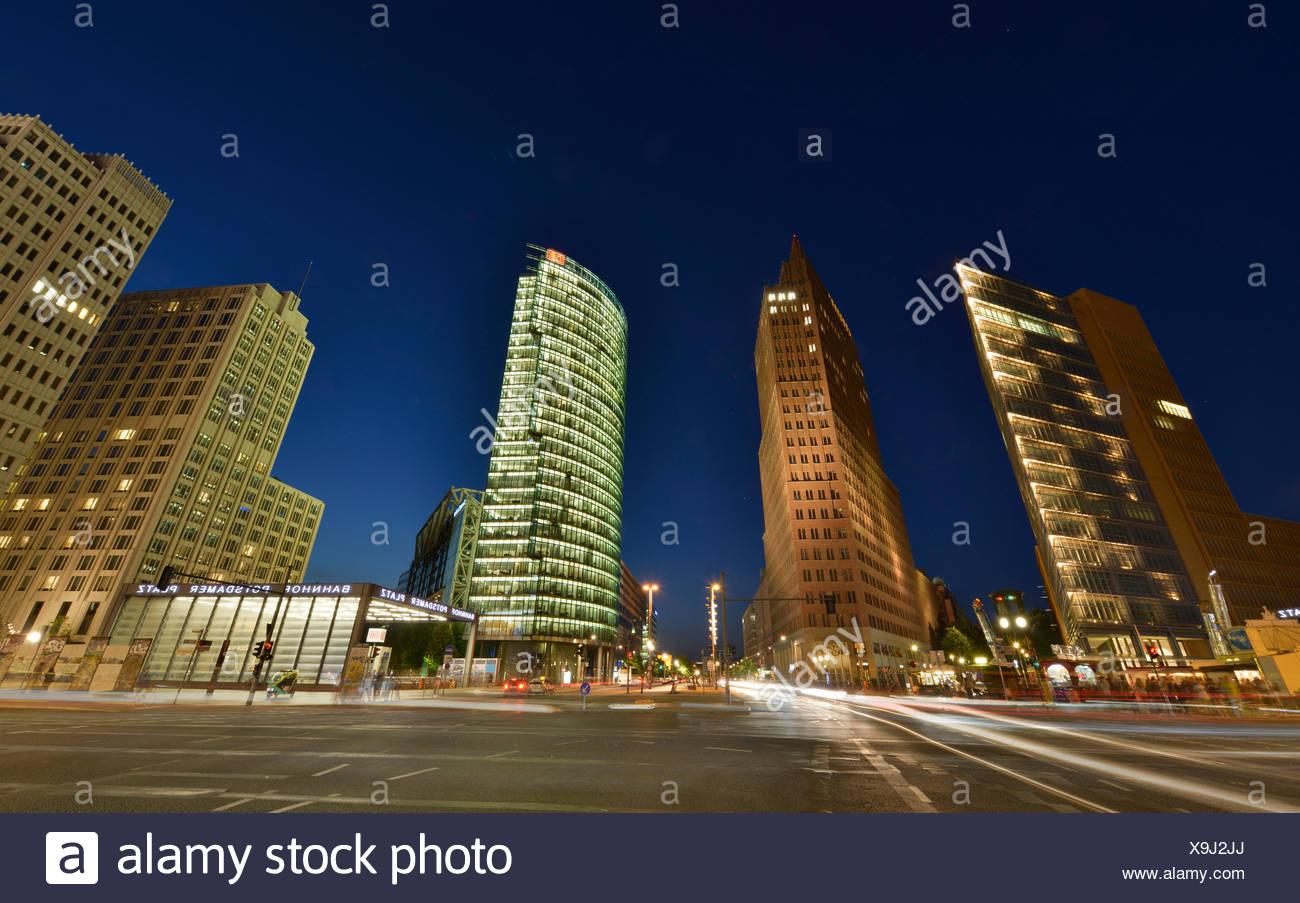 Hochhaeuser, Potsdamer Platz, Tiergarten, Mitte, Berlin, Deutschland Stockbild