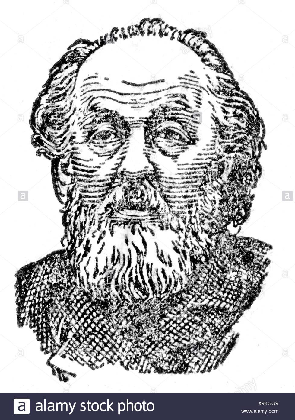 Tsiolkovskii, Konstantin Eduardovich, 17.9.1857 - 19.9.1935, russischer Physiker, Mathematikhistoriker, Pionier der Raumfahrttheorie, Porträt, Holzgravur, Stockfoto