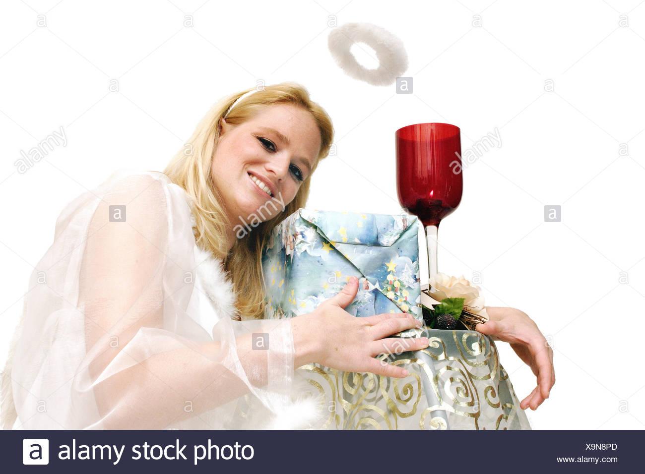 Engel Engel Unschuld Aureole Geschenke Liebe verliebt verliebte lieben Weihnachten Stockbild
