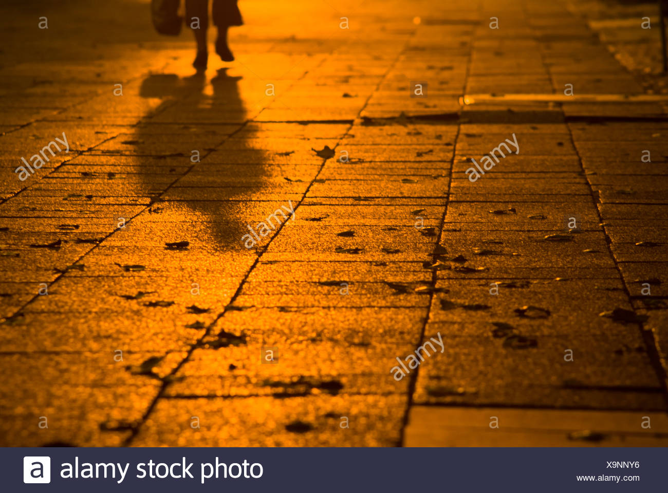Fußgänger, Schatten in der Dämmerung, Karl-Marx-Allee, Berlin, Deutschland, Europa Stockbild