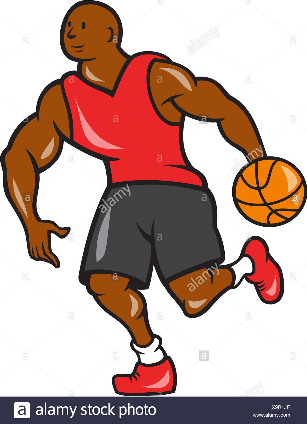 Illustration Basketball Player Dribbling Ball Stockfotos ...