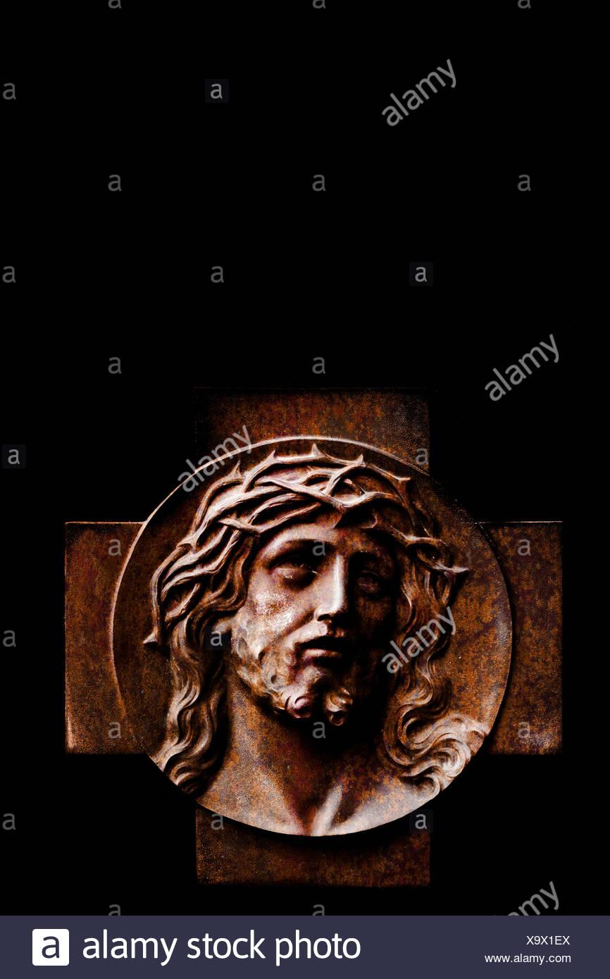 Jesusbild aus Holz Stockbild