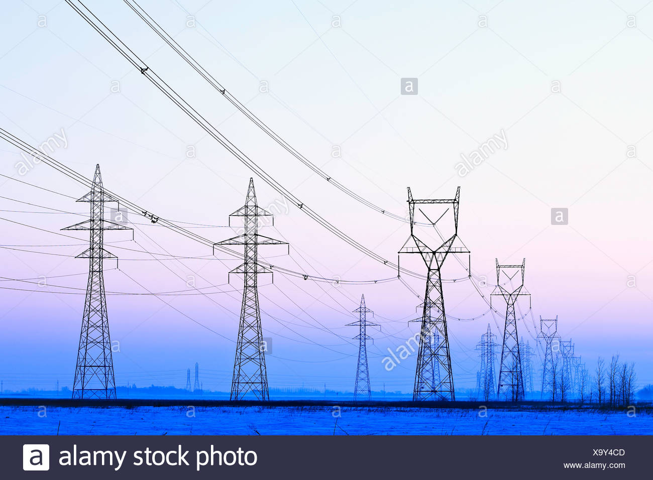Kraftübertragung Türme in der Abenddämmerung. In der Nähe von Winnipeg, Manitoba, Kanada. Stockbild