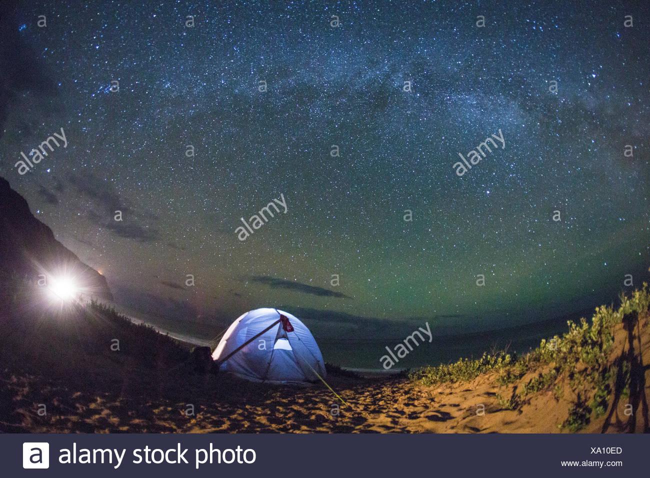 Kauai, camping, Kauai, Sternenhimmel, Sterne, Abend, Astro, USA, Hawaii, Amerika, Stockbild