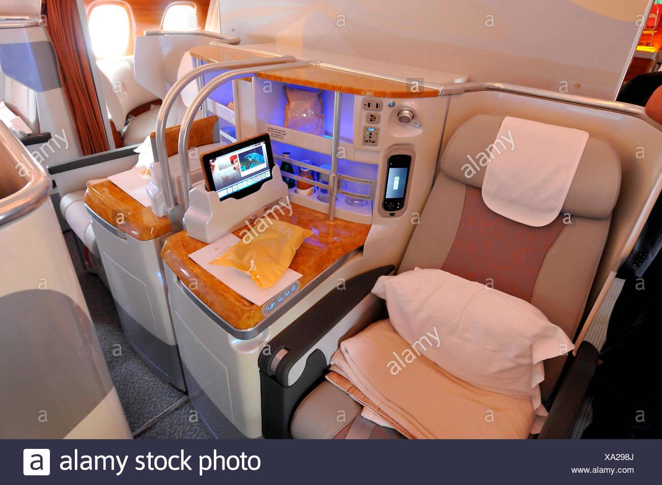 Sitz, Business-Klasse, Airbus A380, ILA, Berlin-Schönefeld, Deutschland Stockbild