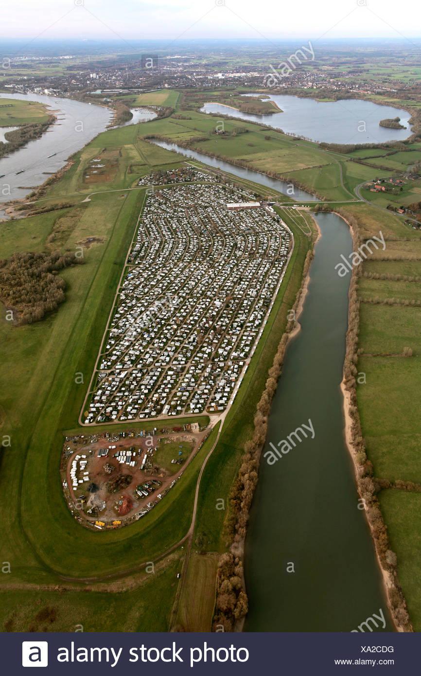 Luftbild, große Boden camping, Grav-Insel Insel, Rhein, Wesel, Niederrhein Region, North Rhine-Westphalia Stockbild
