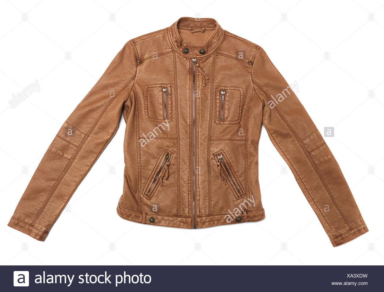 low priced 6d232 8283f Kurze braune Leder Damen Jacke Stockfoto, Bild: 281599077 ...