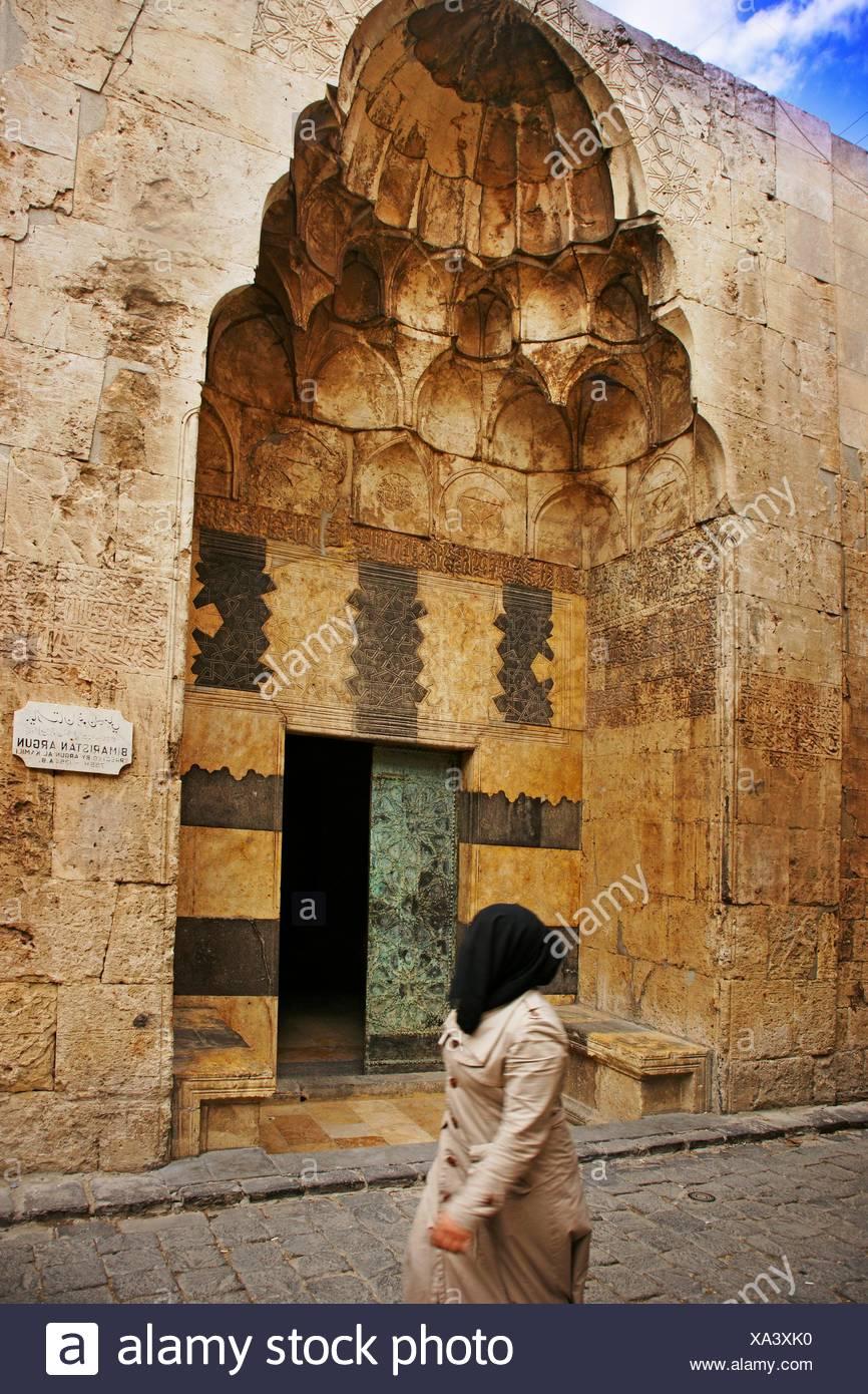Bimaristan Arghun (14. Jahrhundert), einst ein Krankenhaus und jetzt ein Hotel, Aleppo, Syrien Stockbild