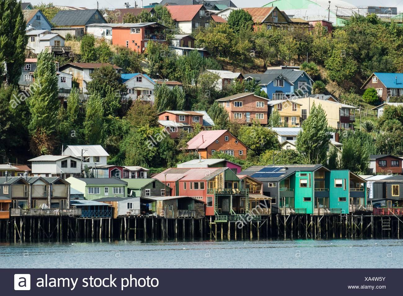 Palafitos, Castro, Archipiélago de Chiloé, Provincia de Chiloé, Región de los Lagos, Patagonien, república de Chile, américa del Sur. Stockfoto