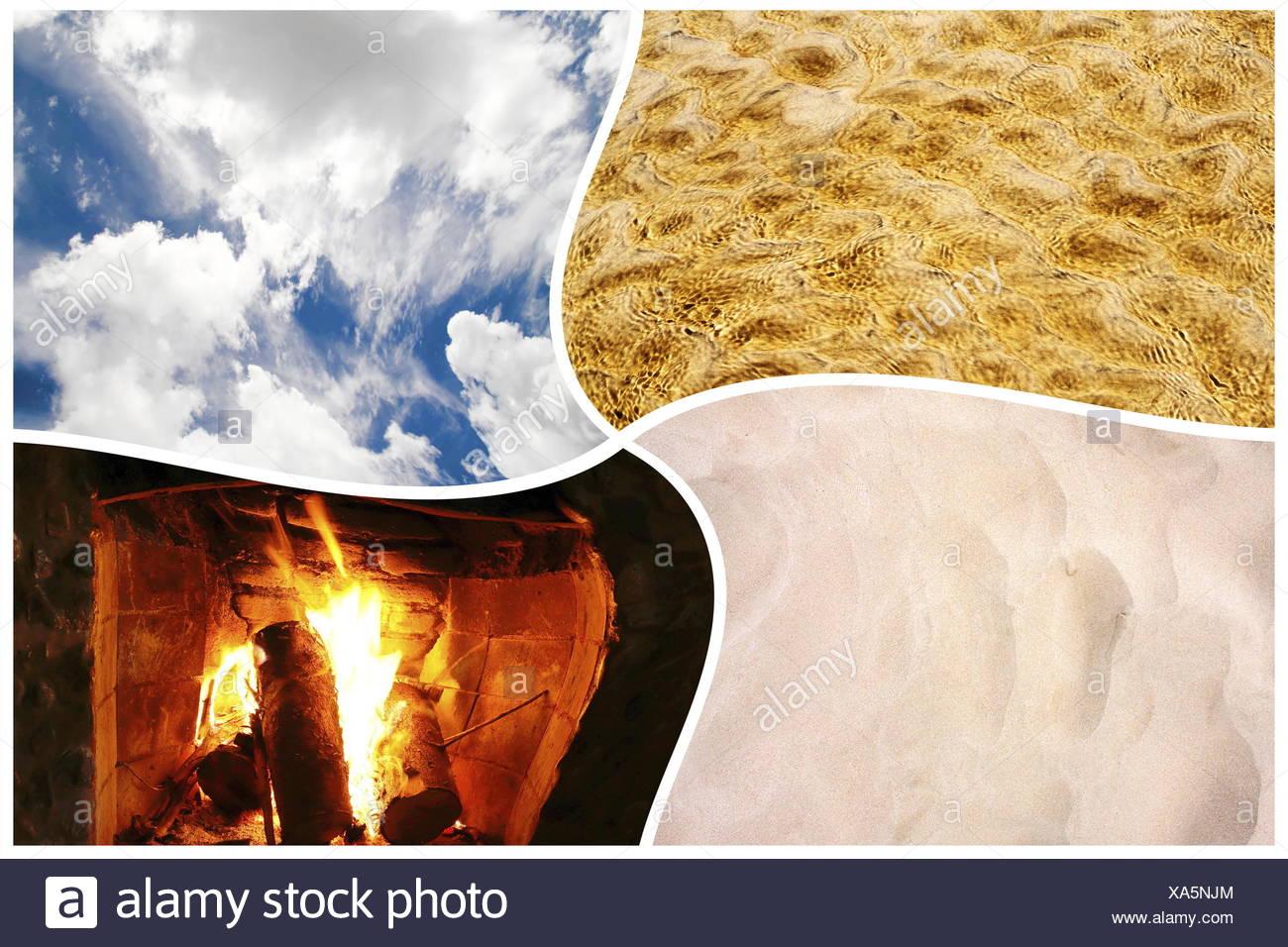 Die Vier Elemente Wasser Feuer Erde Und Luft In Einer Collage