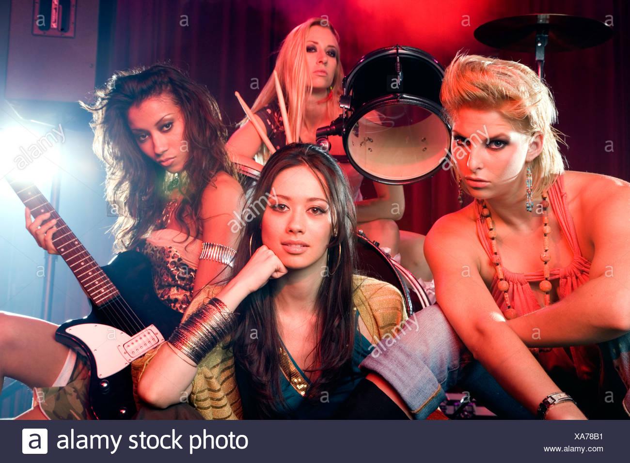 Porträt von einem Pop-Girlgroup Stockbild