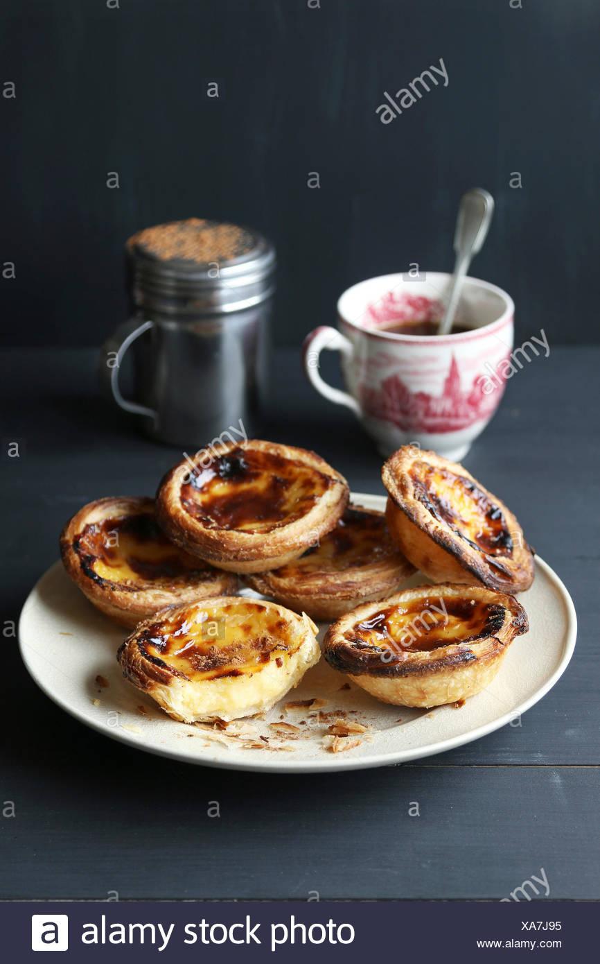 Traditionelle portugiesische Ei Torten-Pastel de nata Stockbild