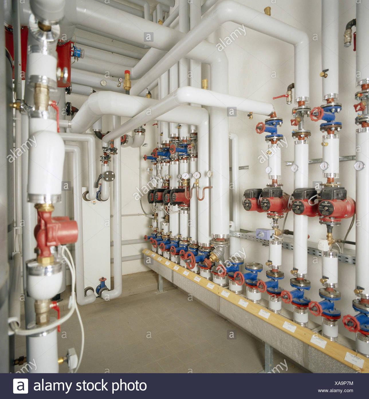 Gut gemocht Heizraum, Rohr, Detail, Ventile Warmwasser, Heizung, Heizung, Rohr SD38