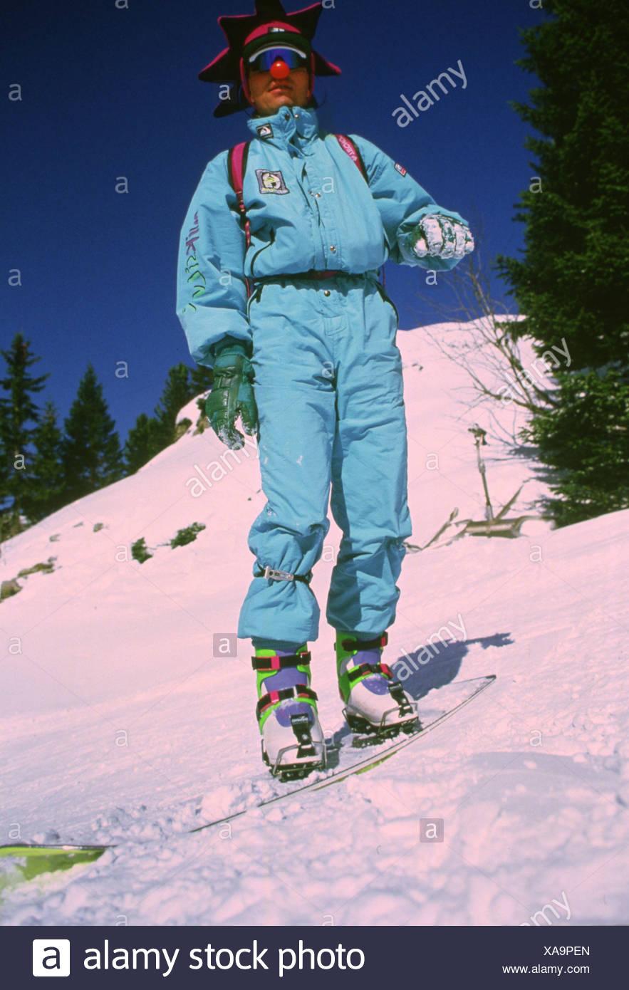 Snowboarden IN den 80er Jahren Stockbild
