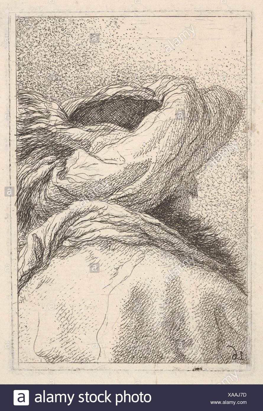 """Mann in einem Turban, in Büste Länge dargestellt von hinten in drei Viertel, aus der Serie """"Collection des Kopfes"""" (Raccolta di Teste). Stockbild"""