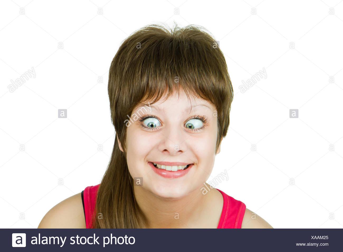 Mädchen mit verrückten Augen Stockbild
