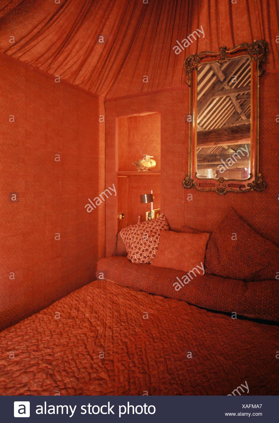 Stoff, Decke rot 60er Jahre Tented Schlafzimmer Aussparung mit ...