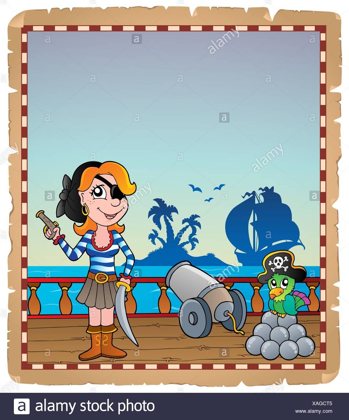 Pergament mit Piraten Schiffsdeck 5 - Bild-Darstellung. Stockbild