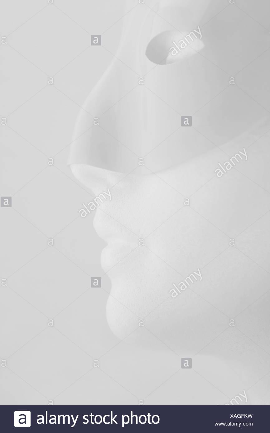 Höhenplan des Mannequins mit Maske Stockbild