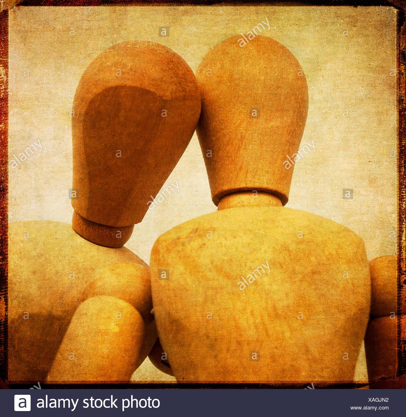 Menschliche Darstellung mit zwei Schaufensterpuppe Kopf Stockbild