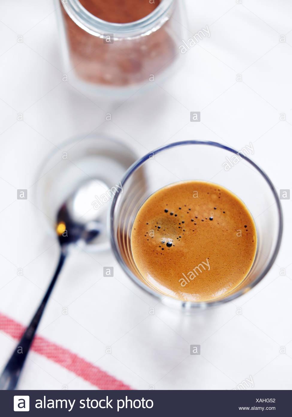 Espresso von oben geschossen Stockbild