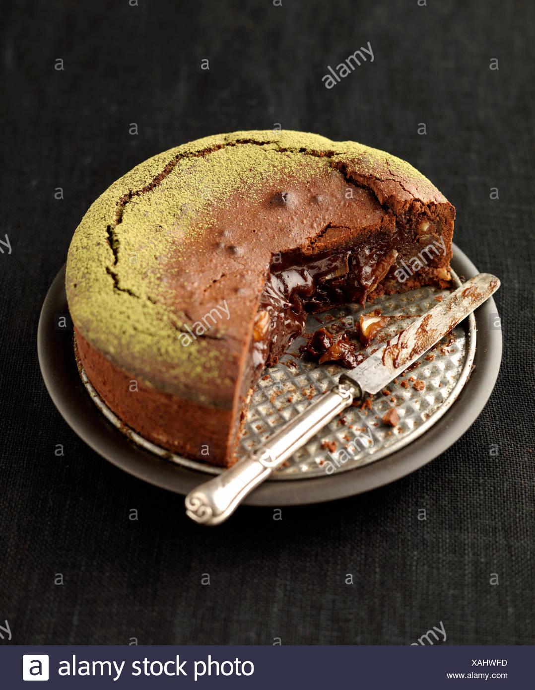 Laufende Datum und Schokolade Kuchen Stockbild
