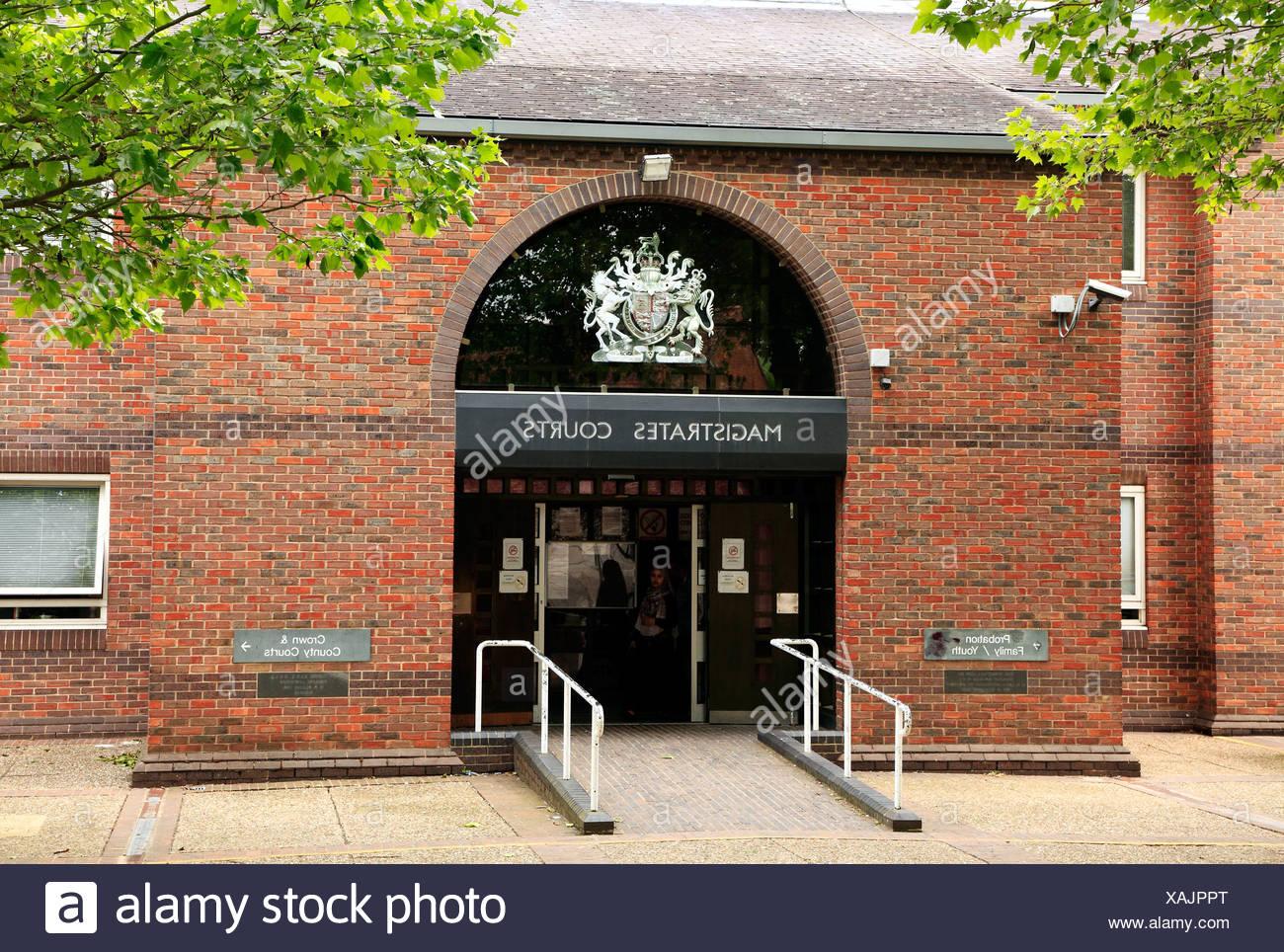 Norwich Magistrates Courts, Amtsgericht Recht Eingang, Norfolk England UK englische Gerichte Stockbild