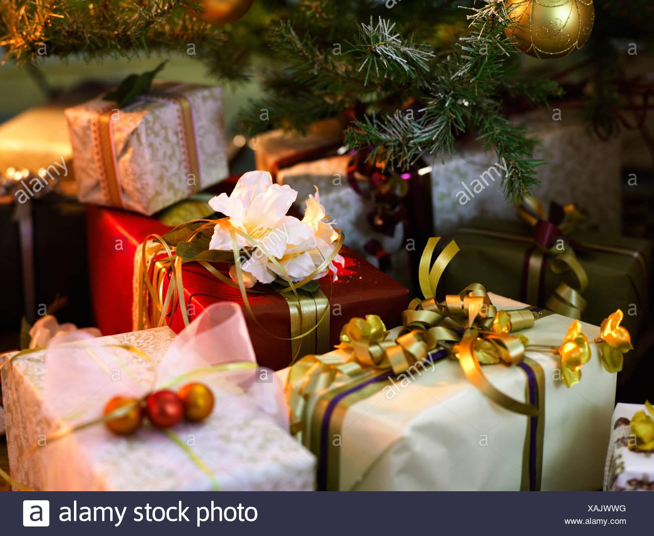 Weihnachtsgeschenke In Schweden.Weihnachtsgeschenke Unter Einem Weihnachtsbaum Schweden Stockfoto