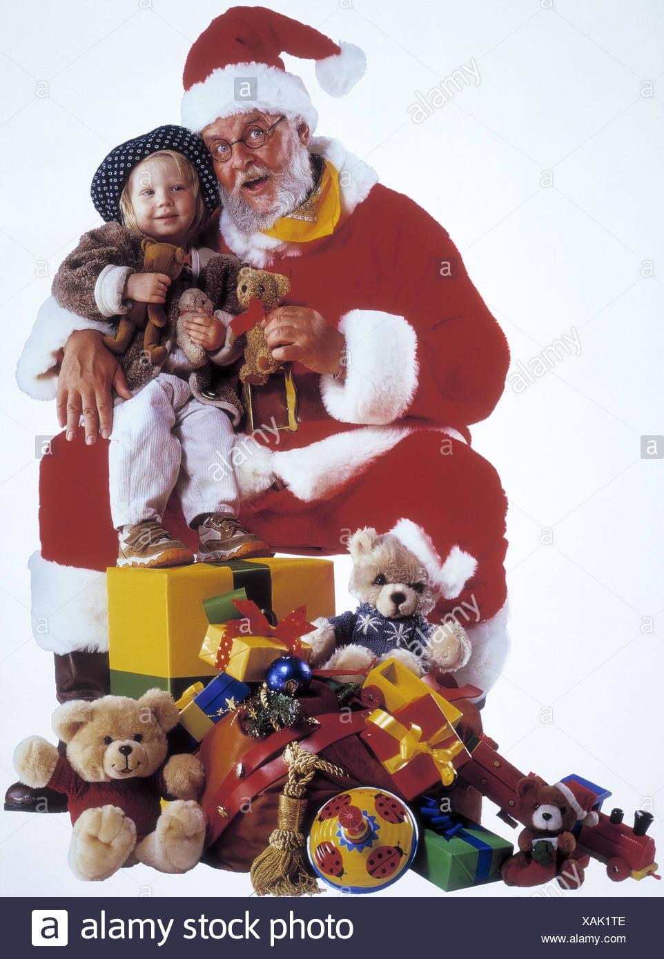 Santa Claus, Kind, Mädchen, Schoß sitzen, glücklich ...
