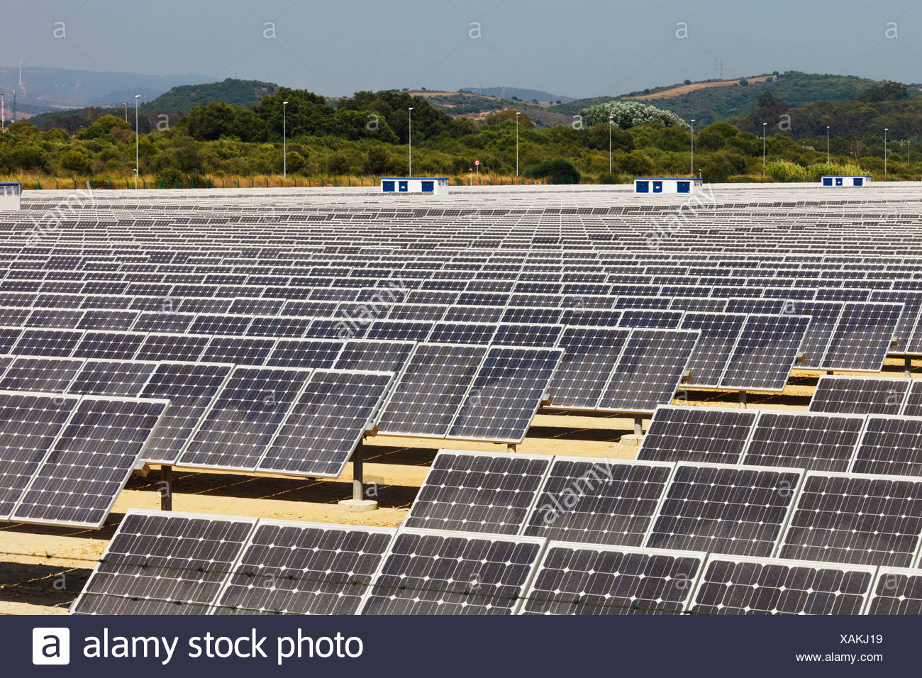 Solar Energy Center in der Nähe von Guadarranque; San Roque, Cádiz, Andalusien, Spanien Stockbild