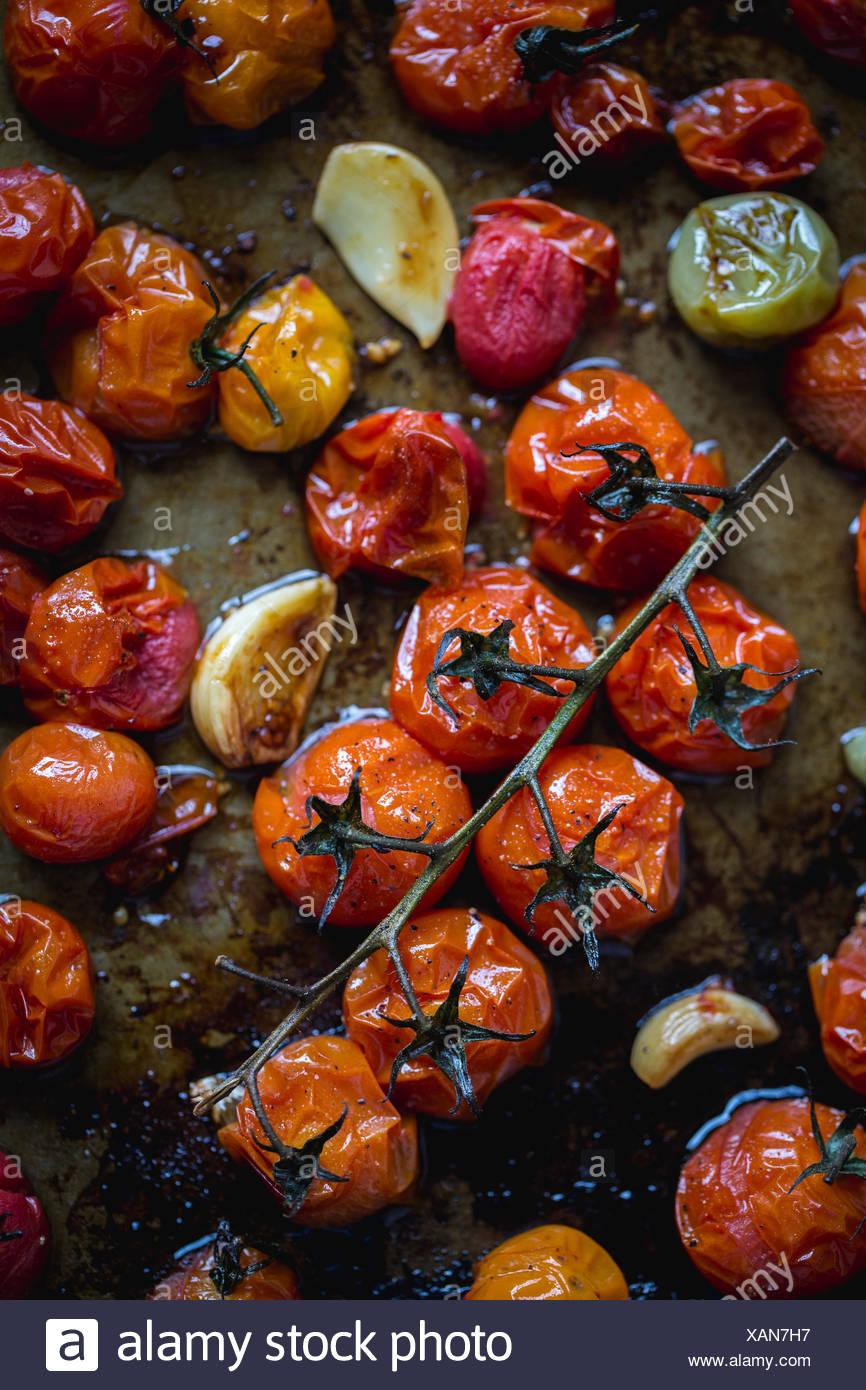 Frisch geröstete Tomaten werden fotografiert, als sie aus dem Ofen bekommen. Stockbild