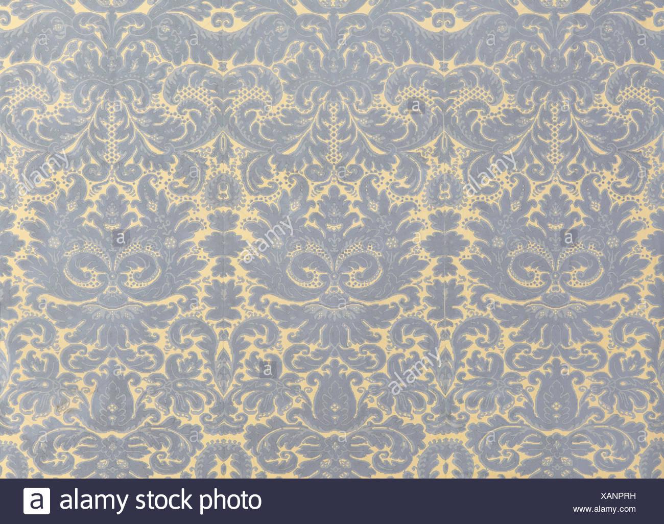 alte tapete mit grauen goldenen barocken muster als hintergrund
