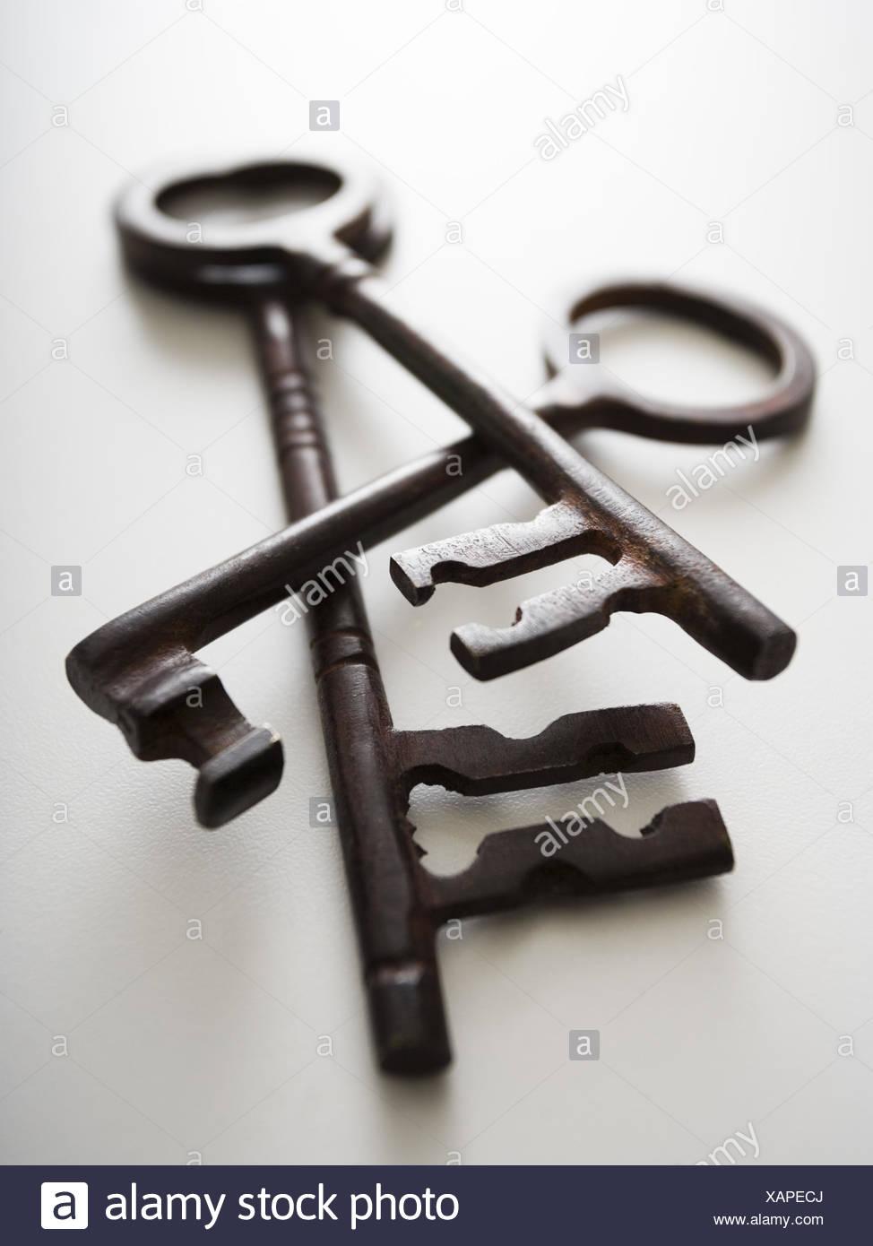 Detailansicht der drei Skelett Schlüssel Stockbild