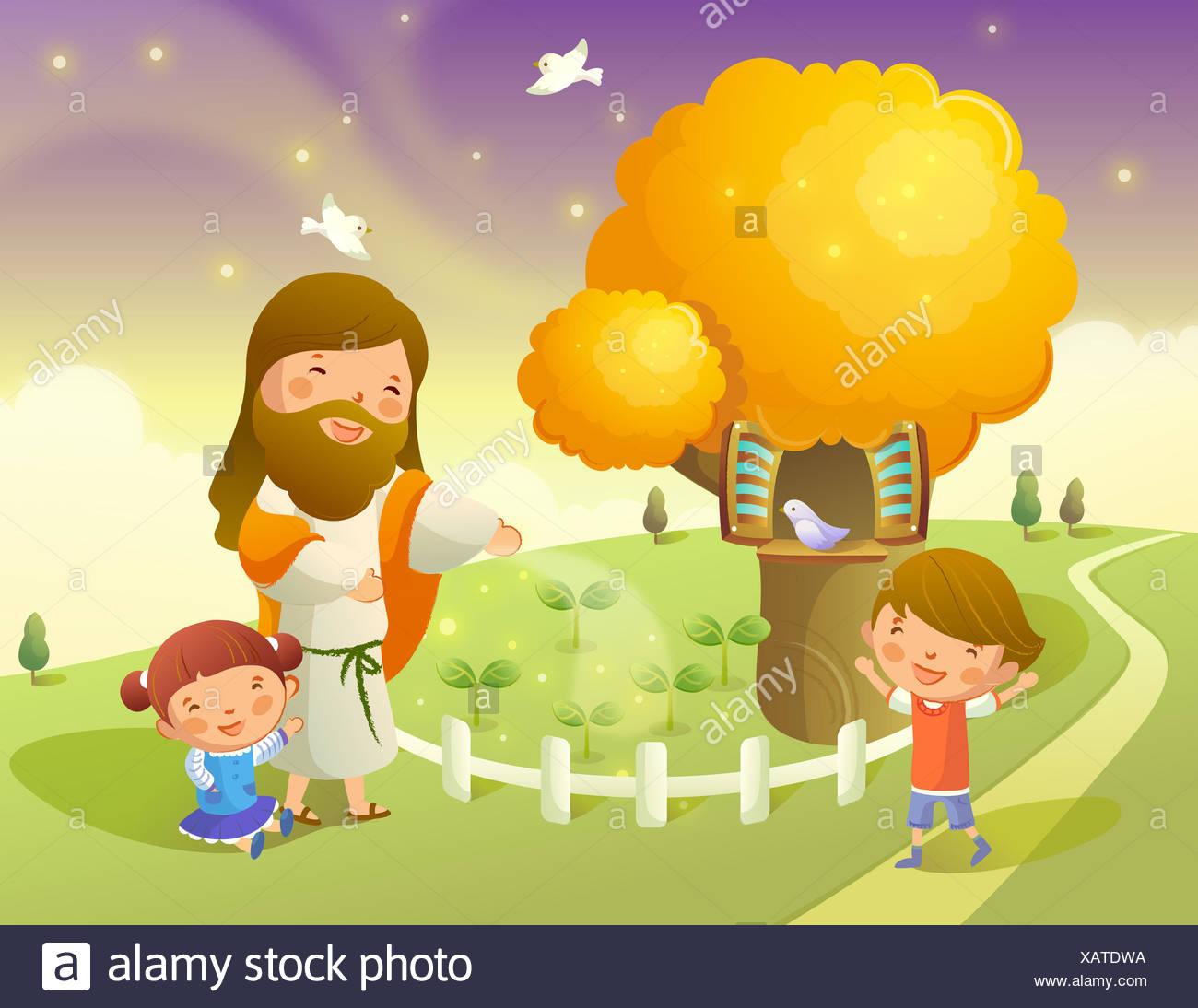 Erfreut Jesus Mit Kindern Färbung Seite Ideen - Malvorlagen Von ...