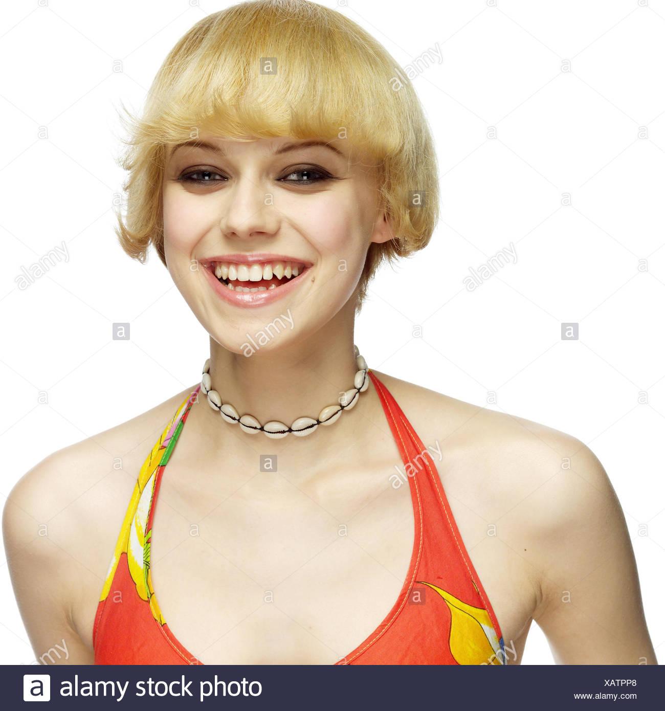 Frau Lächeln Jung Blond Porträt Frauen Porträt 20 30